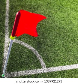 Corner flag in soccer field