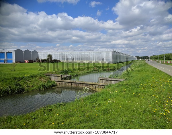 Corner of a glasshouse under cloudy sky, wooden weir in ditch. Controlled environment horticulture (CEH) is the most modern and sophisticated form of greenhouse horticulture