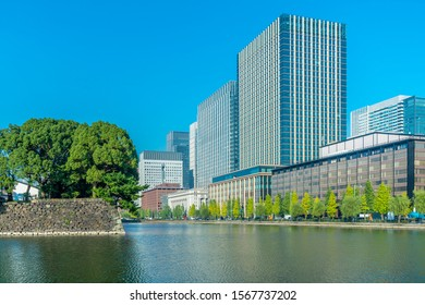 Corner of the historical palace with mordern buildings, Japan