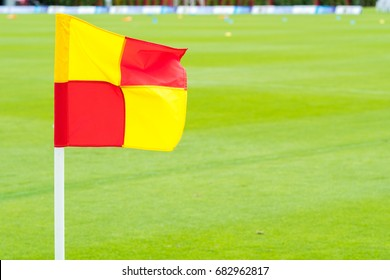 Corner kick of soccer field with flag