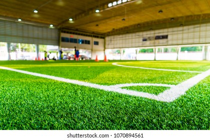Corner kick spot in an indoor soccer field
