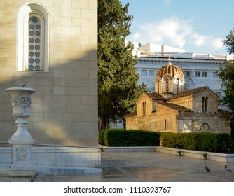 Corner of the Metropolitan Cathedral with the older Agios Eleftherios Church beside it