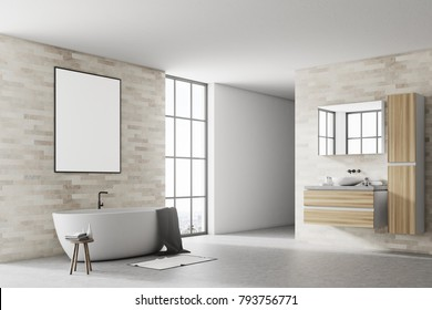 Corner of a modern bathroom with white and brick walls, a concrete floor a white tub and a poster. 3d rendering mock up