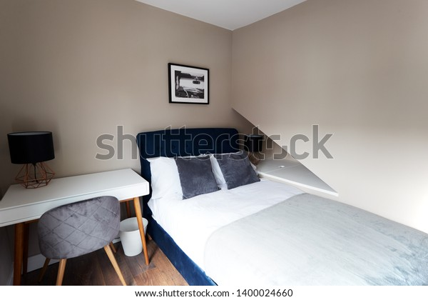 Corner Modern Bedroom Bed Desk Stock Photo (Edit Now) 1400024660