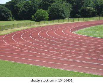 The corner on an athletics running track.