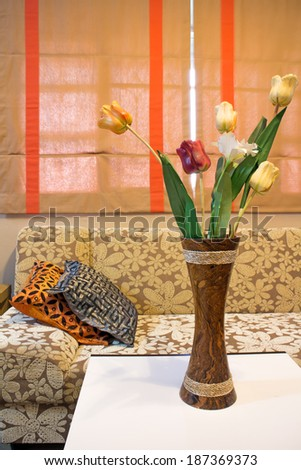 Corner Parlor Shows Flowers Vase On Stock Photo Edit Now 187369373
