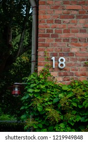 The corner of a red brick house with the number eighteen in white assembled, green plant with leaves under the number