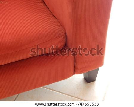 Corner Red Corduroy Sofa Wooden Leg Stock Photo (Edit Now) 747653533 ...
