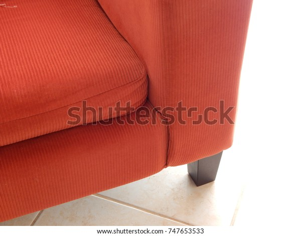 Corner Red Corduroy Sofa Wooden Leg Stock Photo (Edit Now) 747653533