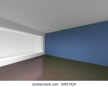 Corner of a room with blue walls and an aperture