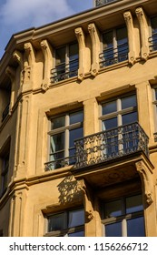 "Corner Rue des Bains & Rue Aldringen, Luxembourg - August 11, 2018: The ""Feensterschlass"" building, Luxembourgish for ""window castle"", has recently been restored to its original state"