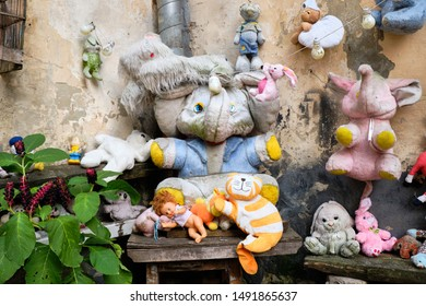 Corner selection from Collection of abandoned stuffed animals in the Yard of Lost Toys, in Lviv Ukraine. August 21, 2019.