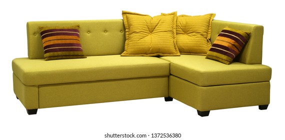 Corner sofa isolated on white background. Including clipping path. Colored decorative pillows