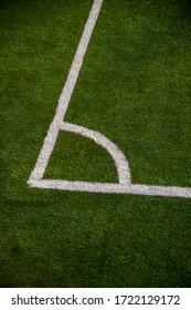 Corner spot on a football field, closeup shot