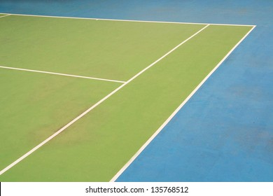 corner of tennis court corner, tennis ball on green blue court and net, sport competition background, sport club
