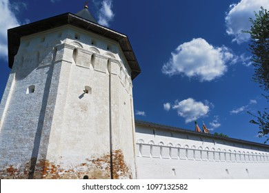 Corner tower of Savvino-Storozhevski monastery wall, located in Zvenigorod, an old town in Moscow region, Russia