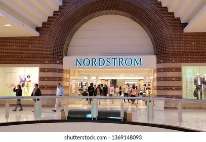 TYSON'S CORNER, VA - APRIL 13, 2019: NORDSTROM mall retail department store location with sign