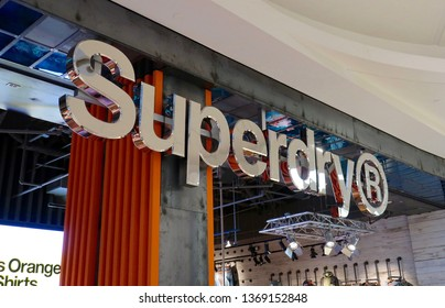 TYSON'S CORNER, VA - APRIL 13, 2019: SUPERDRY mall retail shop location with sign