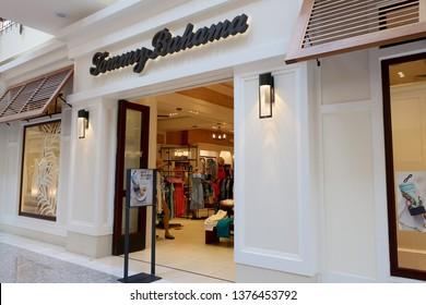TYSON'S CORNER, VA - APRIL 20, 2019: TOMMY BAHAMA - sign at retail store entrance