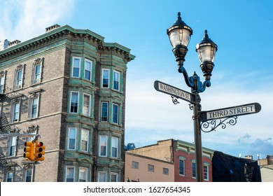 Corner of Washington and Third streets in downtown Hoboken, New Jersey, USA