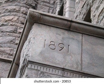 Cornerstone of a building in downtown Minneapolis.