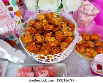 Cornflakes cookies on tables for kids birthday party