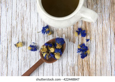 Cornflower and cup of tea