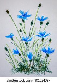 Cornflower. Original pastel painting on canvas