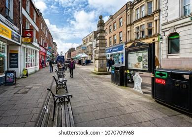 Cornhill pedestrian only street taken in Cornhill, Dorchester, Dorset, UK on 16 April 2018