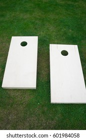 Cornhole Boards from Above on Grass Vertical