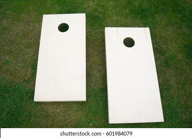 Cornhole Boards from Above on Grass Horizontal