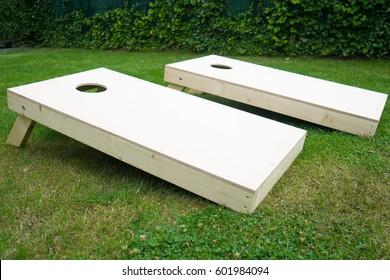Cornhole Boards Outdoors in Garden