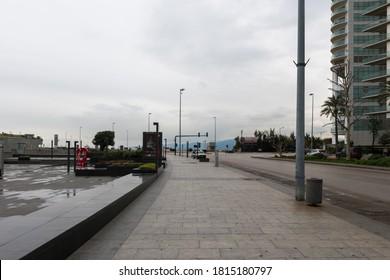 Cornich al Mazraa Beirut, Lebanon - March 20-2020, Beirut Empty Streets during corona lock down