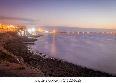 Corniche in Dakhla at sunset. Dakhla, Western Sahara, Morocco.