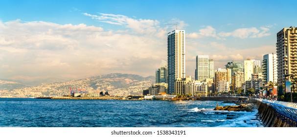 The Corniche seaside promenade in Beirut, the capital of Lebanon