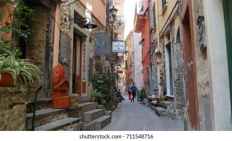 CORNIGLIA, LIGURIA - CIRCA MAYU 2017: a glimpse of an alley of the seaside village of Corniglia,  Cinque terre, Liguria, Italy.