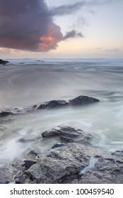 Cornish dusk seascape, North Cornwall.