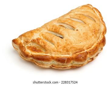 Cornish pasty on white background.