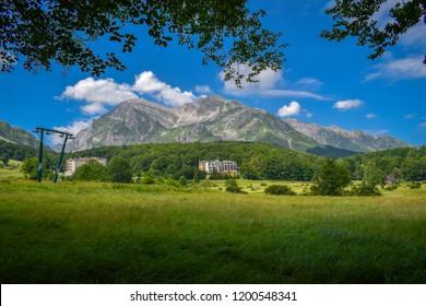 Corno Piccolo panoramic view, Gran Sasso Mountain chain, Teramo province, Abruzzo region, Italy