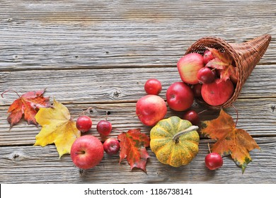 Cornucopia with apples, leaves pumpkins on wooden background