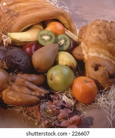 Cornucopia of fruit.