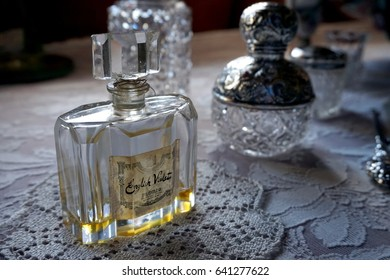 Cornwall, England, UK - April 5th 2017: Bottle of old vintage English Violets perfume by Floris of London