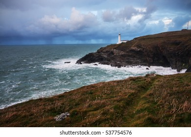 Cornwall (South-West England): the beautiful Trevose Head Lighthouse during a storm.