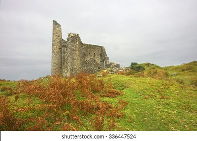 Cornwall's industrial heritage, the unique ruins of the Silver Valley Engine House, one of the many Engine houses on Bodmin Moor on an overcast Autumn evening, Cornwall, England, United Kingdom