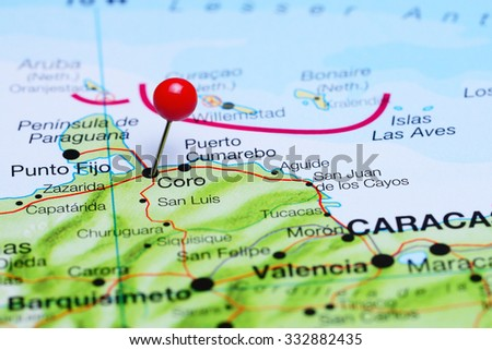 Los Cayos Florida Map.Coro Pinned On Map America Stock Photo Edit Now 332882435
