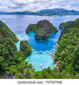 Coron, Palawan, Philippines, aerial view of Kayangan Lake.