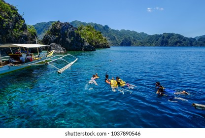 Coron, Philippines - Apr 10, 2017. Tourists enjoy on sea in Coron Island, Philippines. Coron is a wedge-shaped limestone island in the province of Palawan.