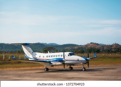 Coron, Philippines - January 29, 2019: Small private aircraft Beechcraft King Air 350 at Francisco B. Reyes Airport.