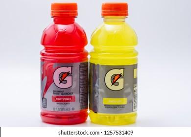 Corona, CA USA - December 12, 2018: Bottles of Gatorade beverage product fruit punch and lemon lime flavor.