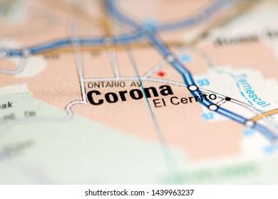 Corona. California. USA on a geography map